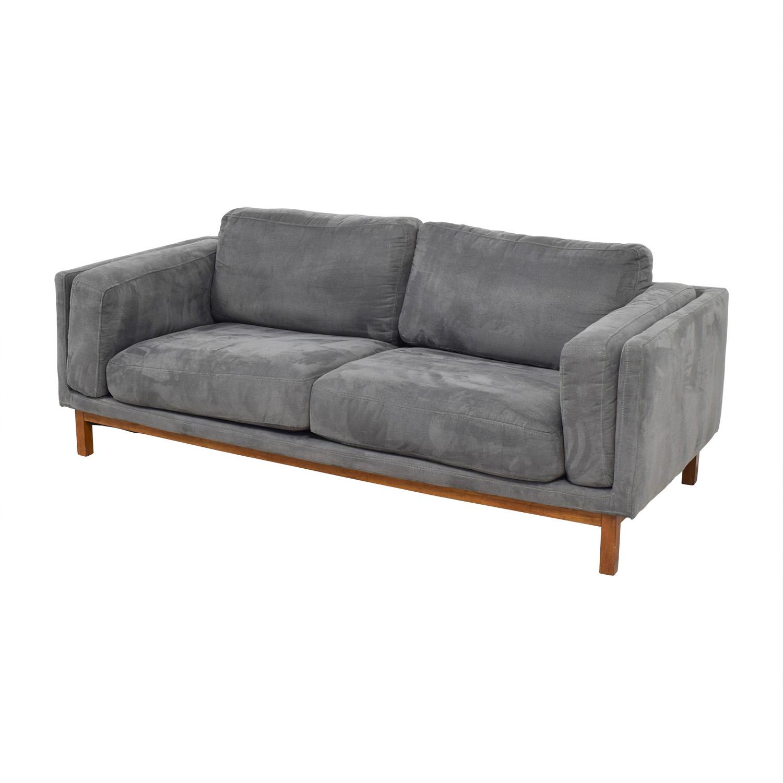 West Elm Everett Dark Grey Microsuede Couch / Sofas