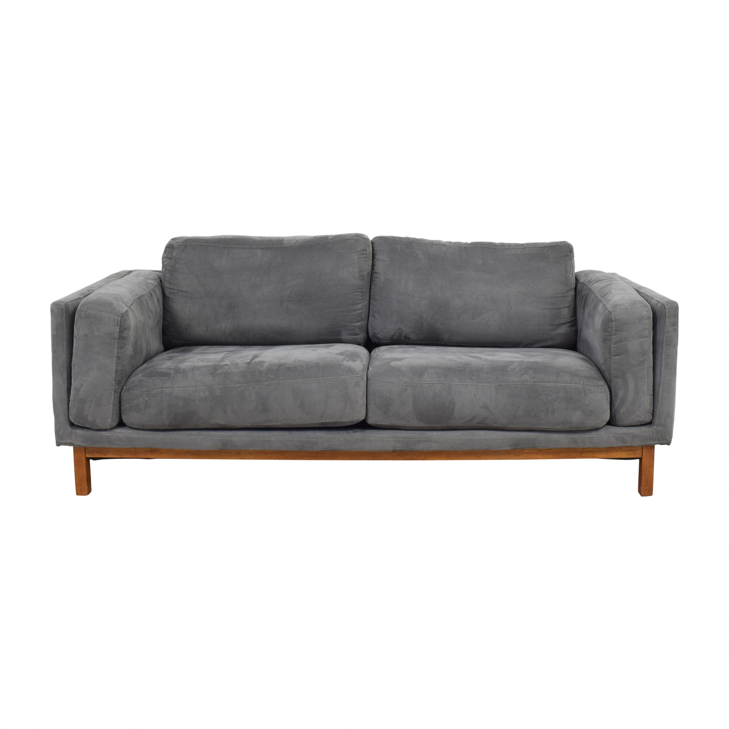 West Elm Everett Dark Grey Microsuede Couch Coupon