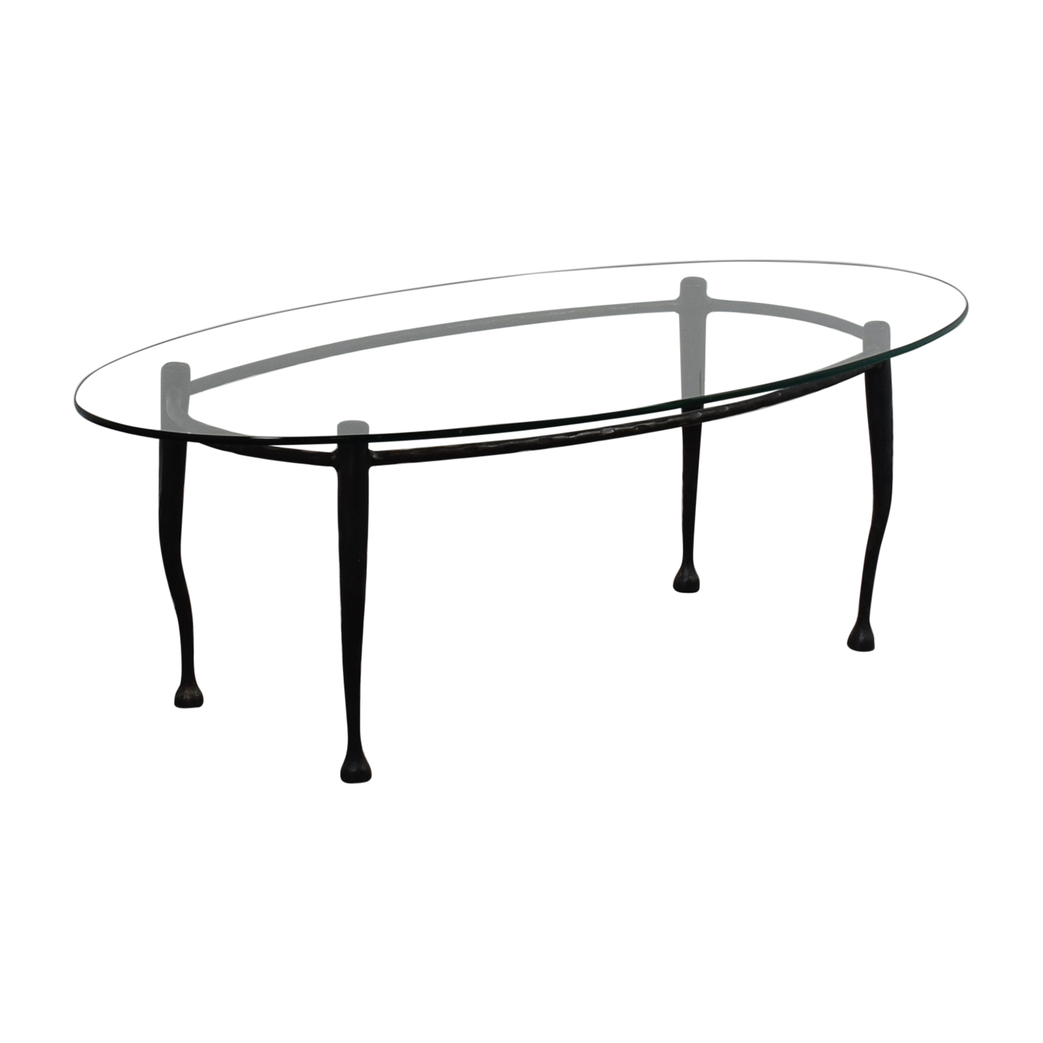 Glass Top Coffee Table With Iron Legs / Tables