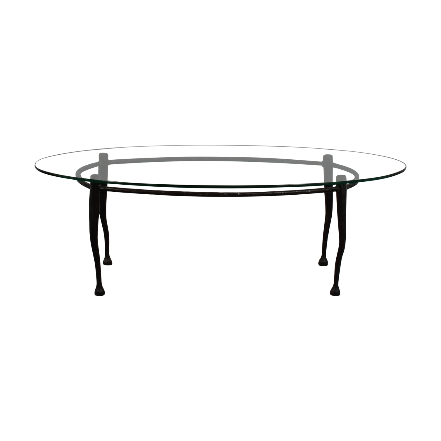 Glass Top Coffee Table with Iron Legs silver