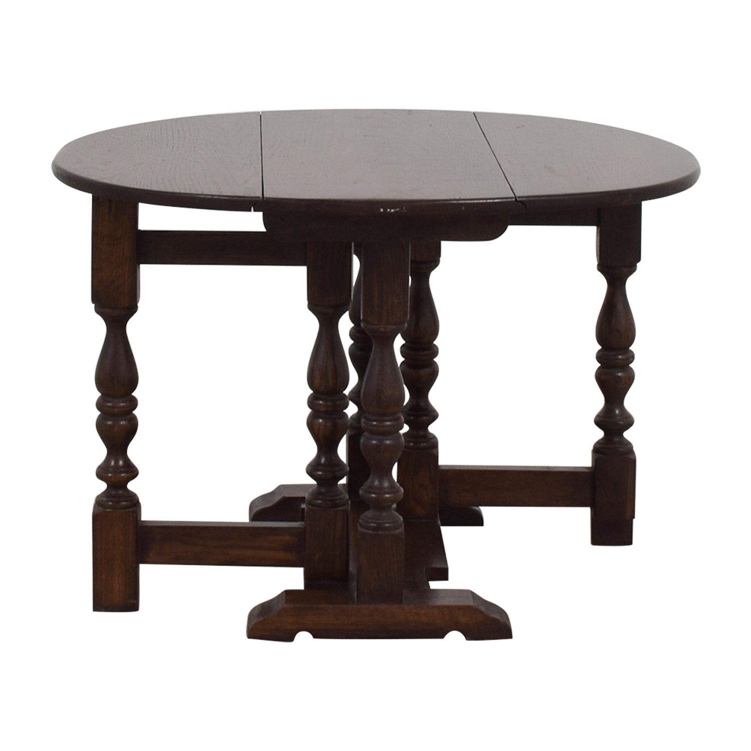 Antique Wood Side Table With Collapsible Leaves BROWN ...
