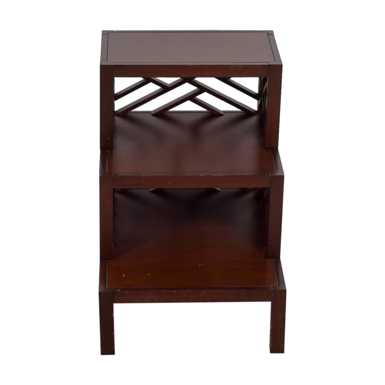 Multi Level Wood Trellis End Table / Tables