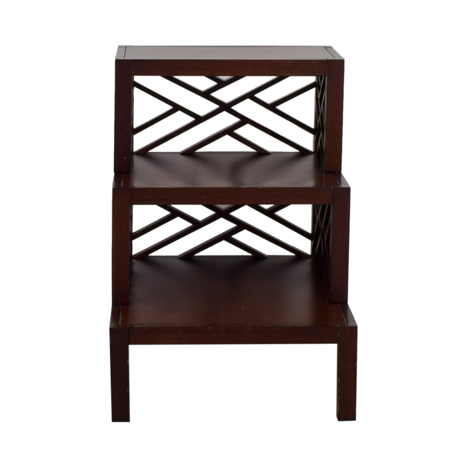 Multi Level Wood Trellis End Table second hand