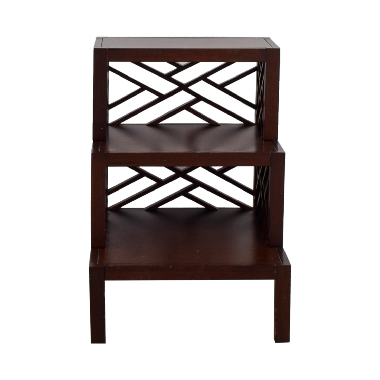 Multi Level Wood Trellis End Table discount