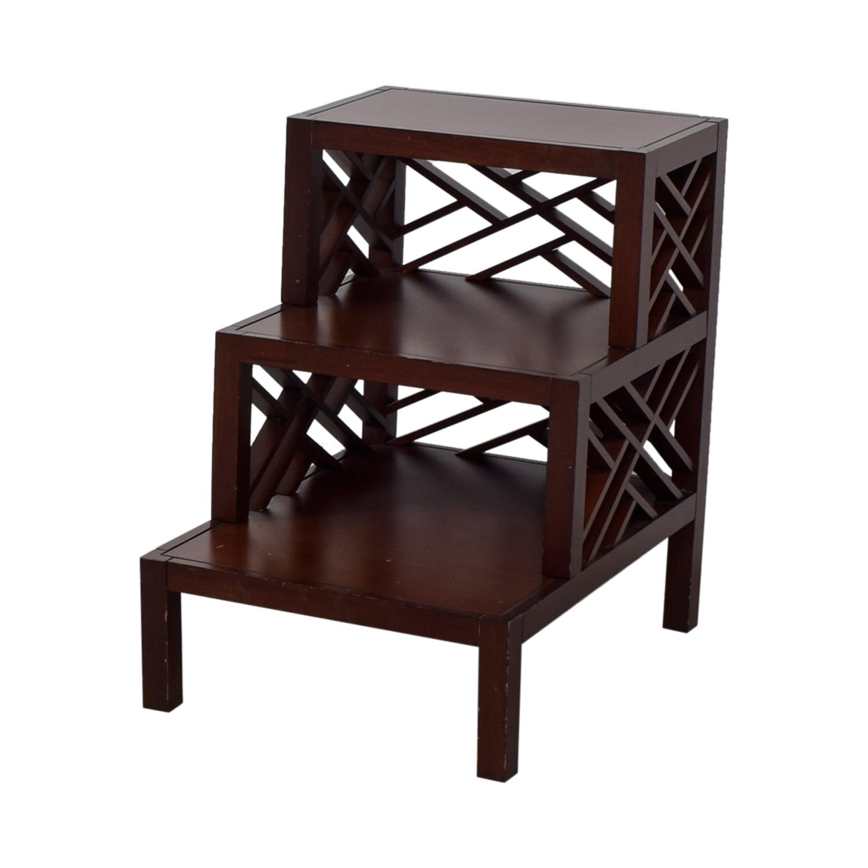 Multi Level Wood Trellis End Table