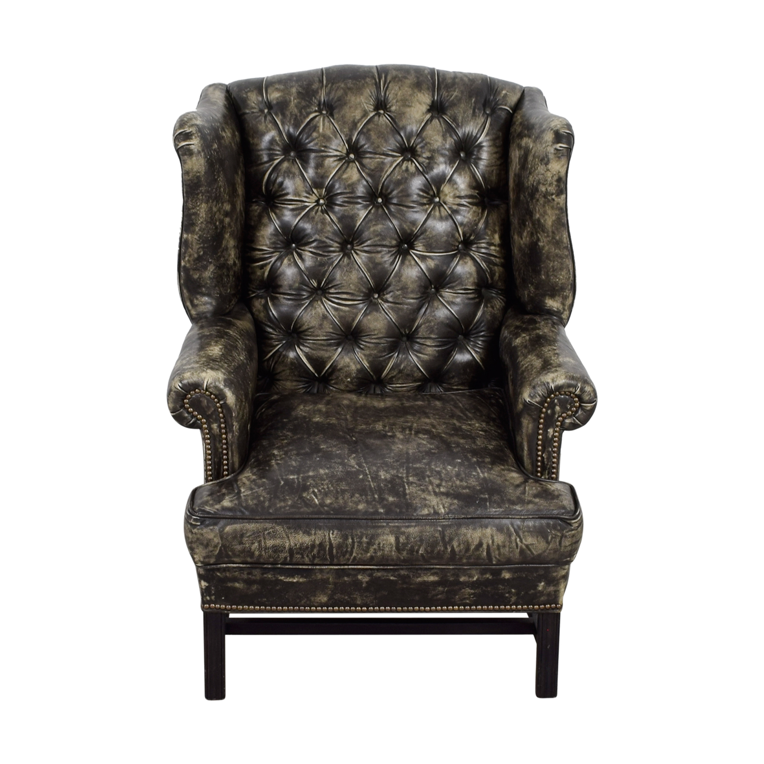Picture of: 33 Off Restoration Hardware Restoration Hardware Wingback Distressed Black And Cream Leather Chair Chairs