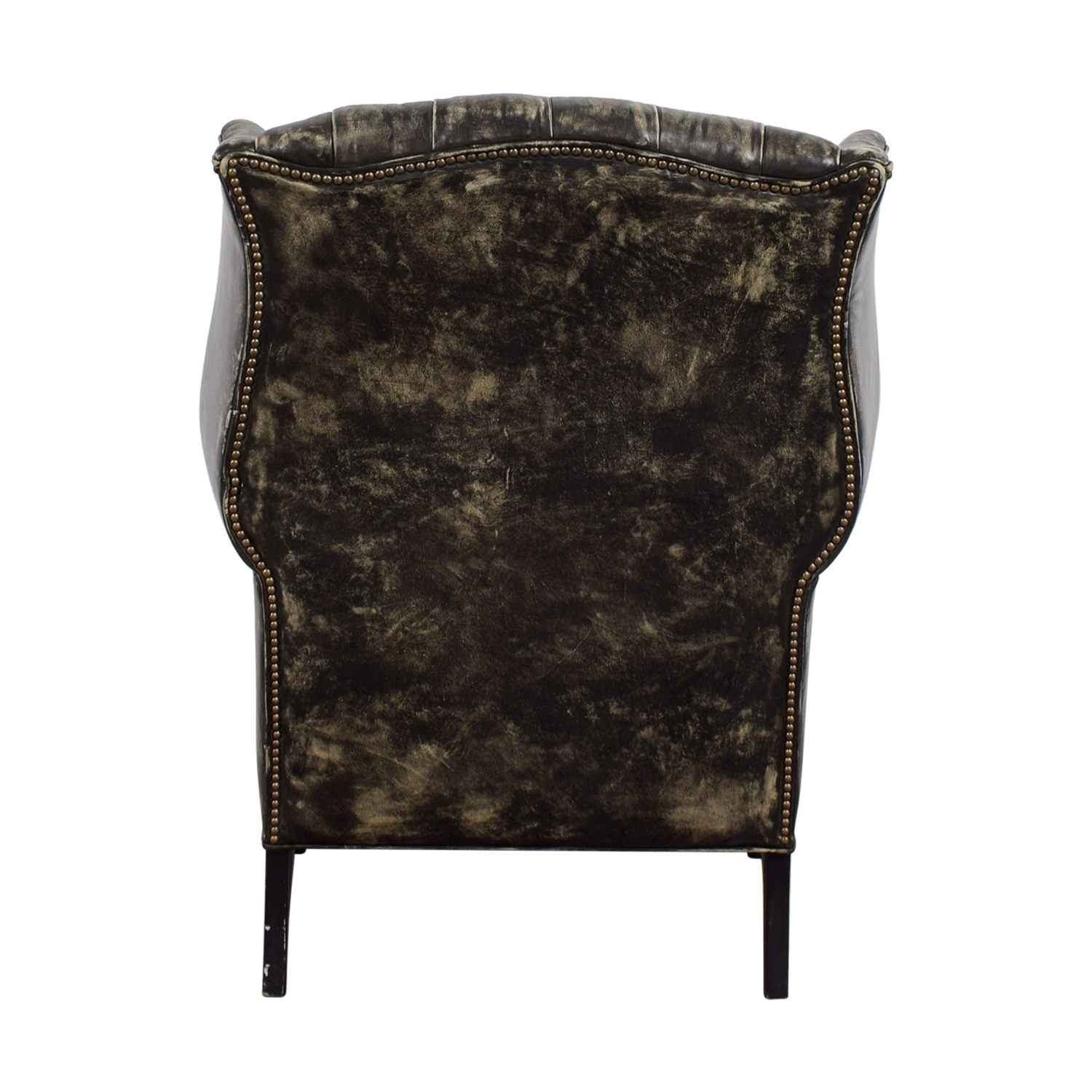 ... Restoration Hardware Restoration Hardware Wingback Distressed Black And  Cream Leather Chair On Sale ...