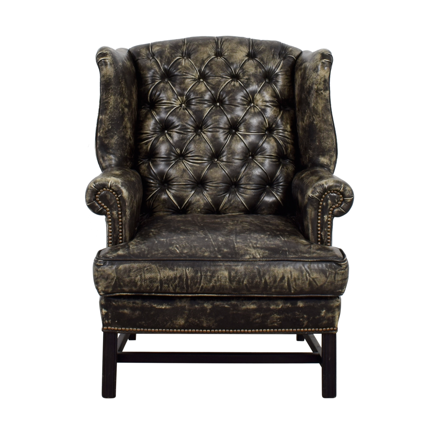 buy Restoration Hardware Wingback Distressed Black and Cream Leather Chair Restoration Hardware Accent Chairs