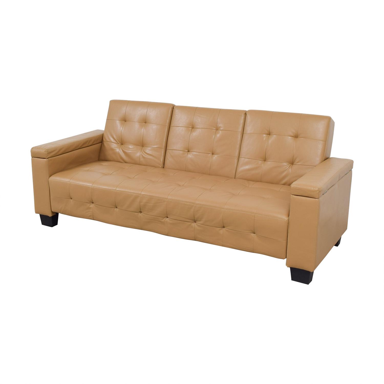 Tufted Khaki Leather Sofa Futon / Sofas