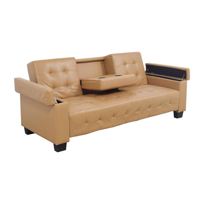 Second Hand Leather Sofas Somerset: Tufted Khaki Leather Sofa Futon / Sofas