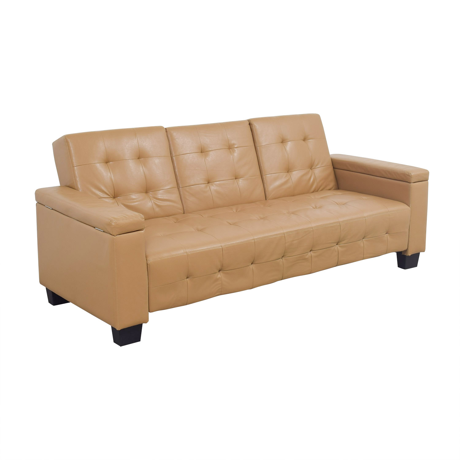 Sofa Leather Workshop: Tufted Khaki Leather Sofa Futon / Sofas
