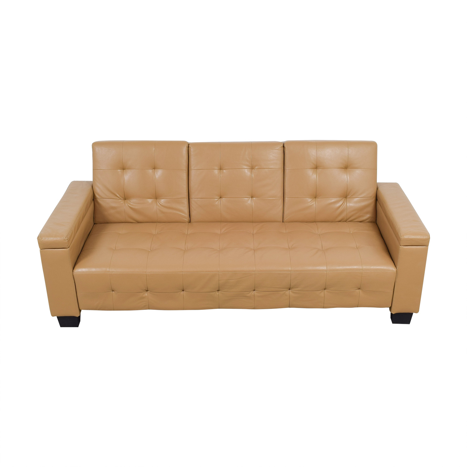 67 off tufted khaki leather sofa futon sofas for Tufted leather sleeper sofa