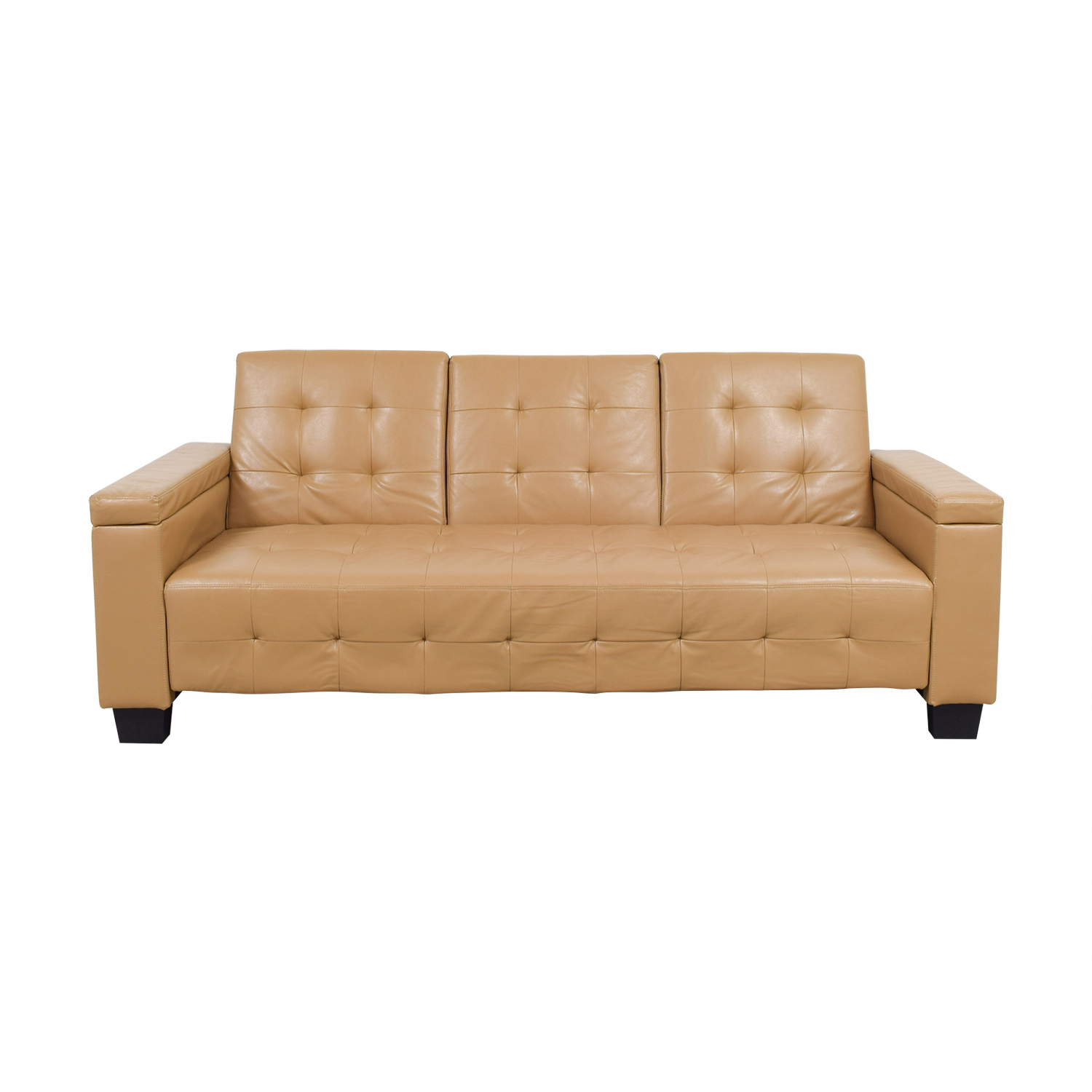 77% OFF - Tufted Khaki Leather Sofa Futon / Sofas