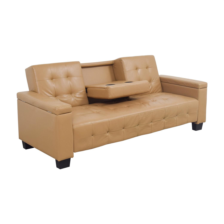 77 Off Tufted Khaki Leather Sofa Futon Sofas