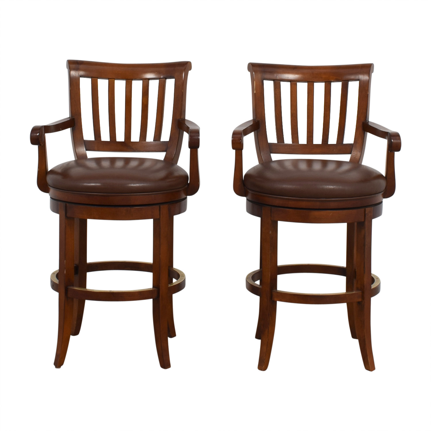 Ethan Allen Ethan Allen Brown Leather Stools coupon