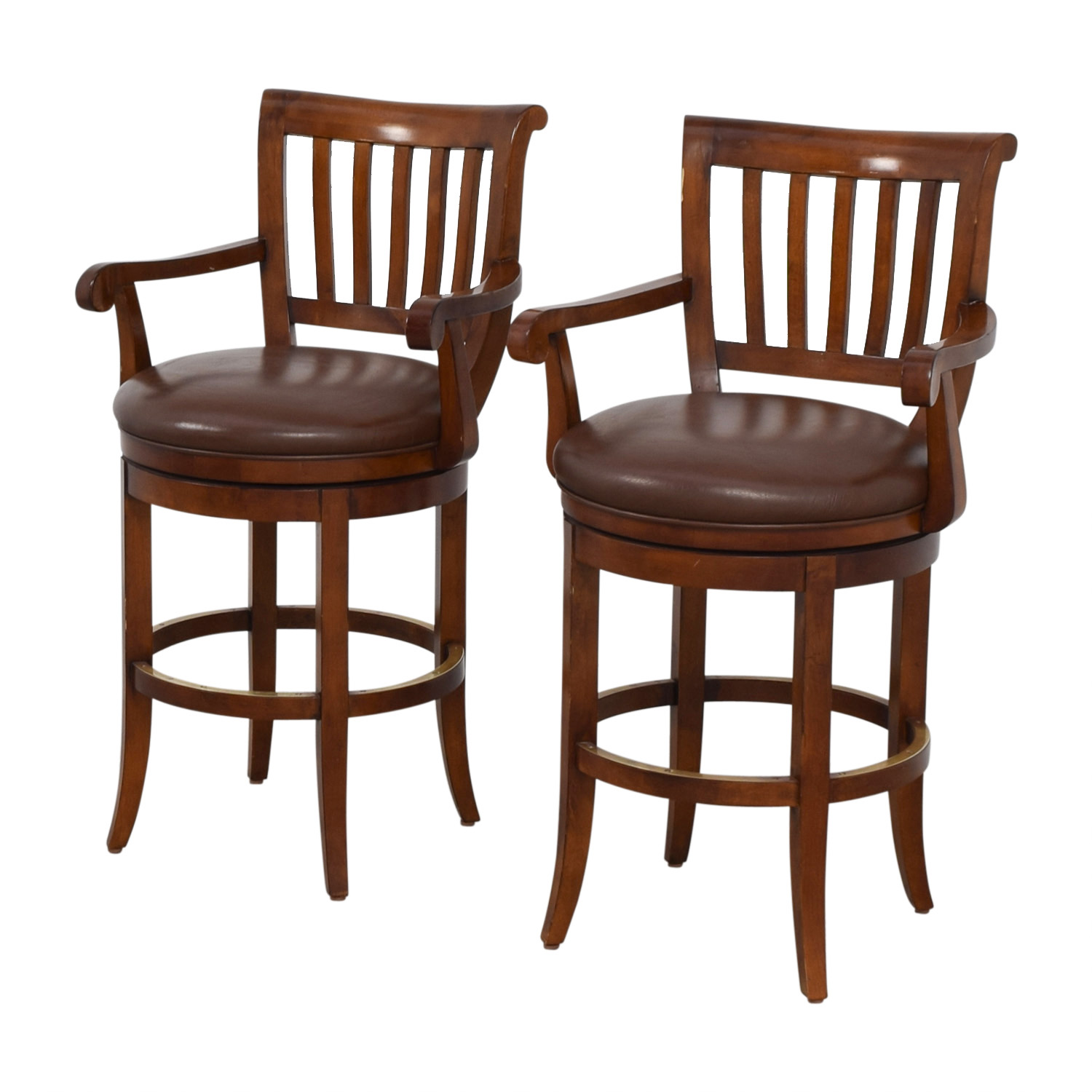 79 Off Ethan Allen Ethan Allen Brown Leather Stools Chairs