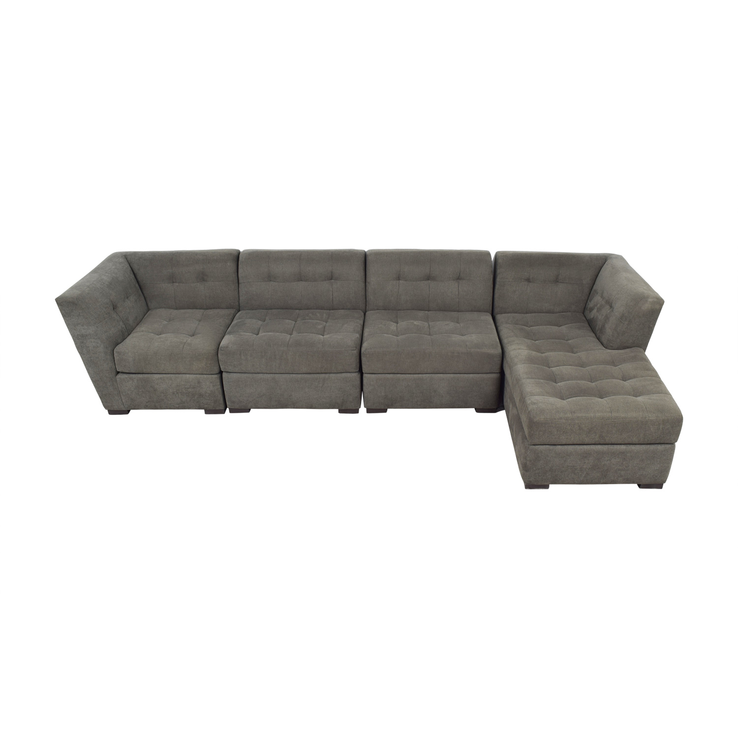 Macy's Macy's Grey Tufted Four Piece Chaise Sectional price