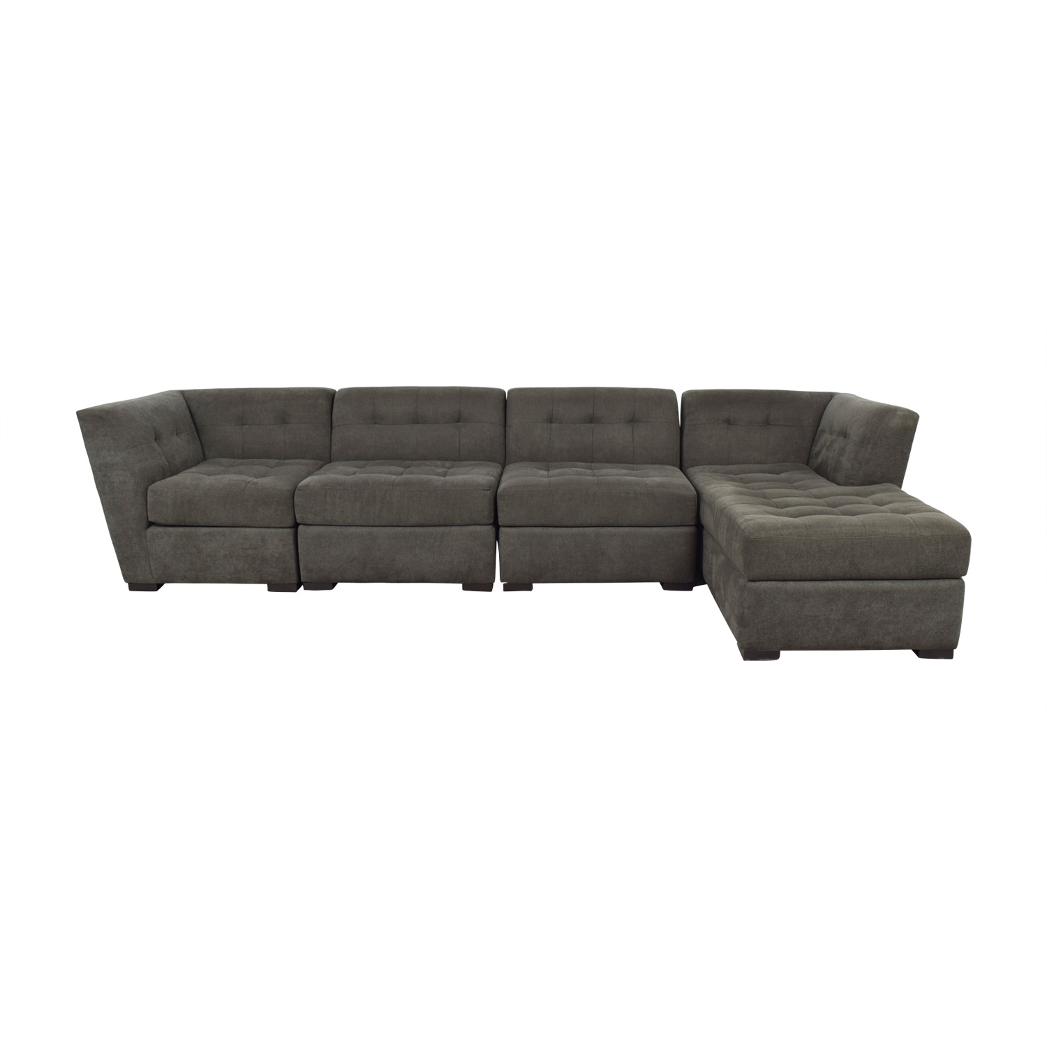 Macy's Macy's Grey Tufted Four Piece Chaise Sectional nyc