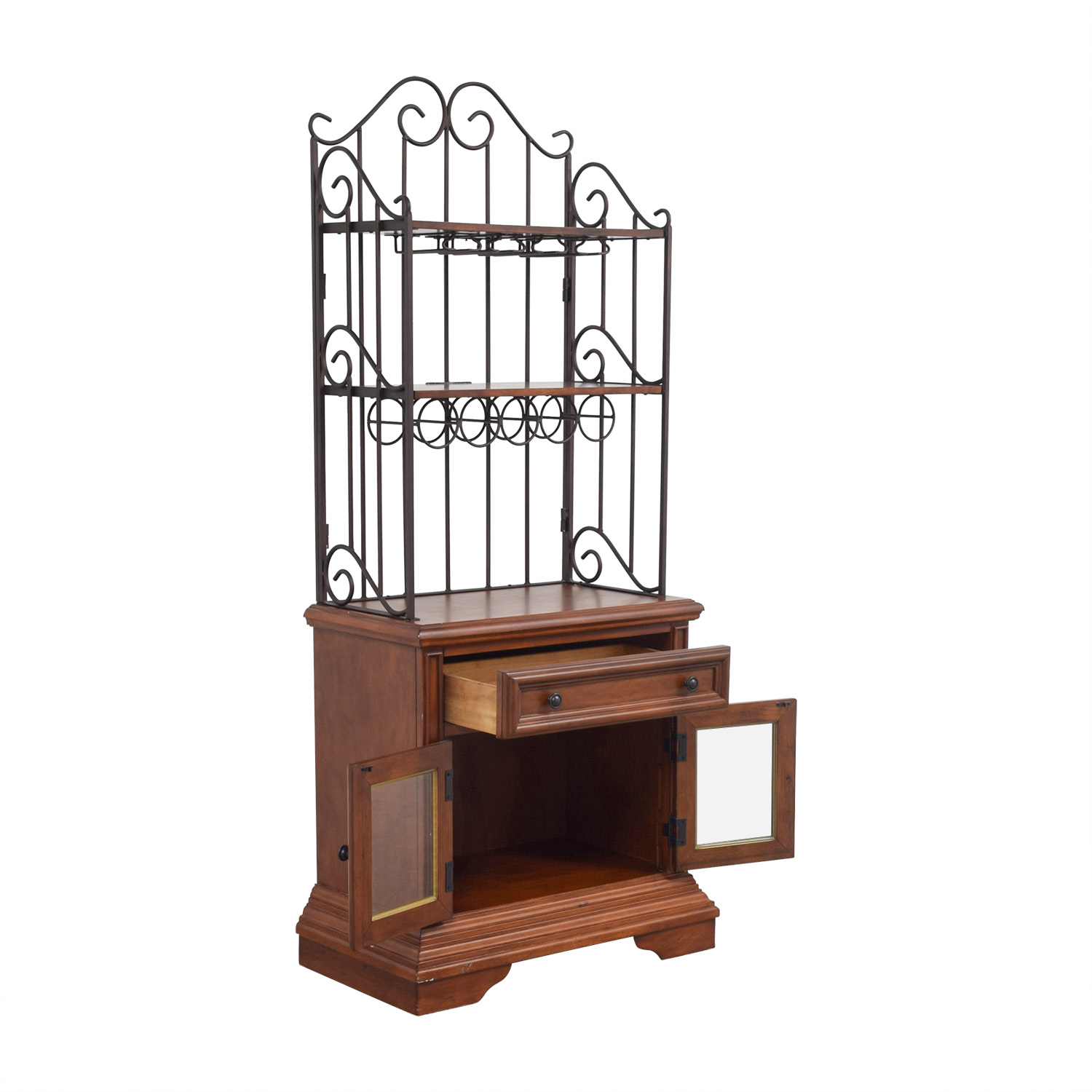 shop Wood and Metal Wine Cabinet Bookcases & Shelving