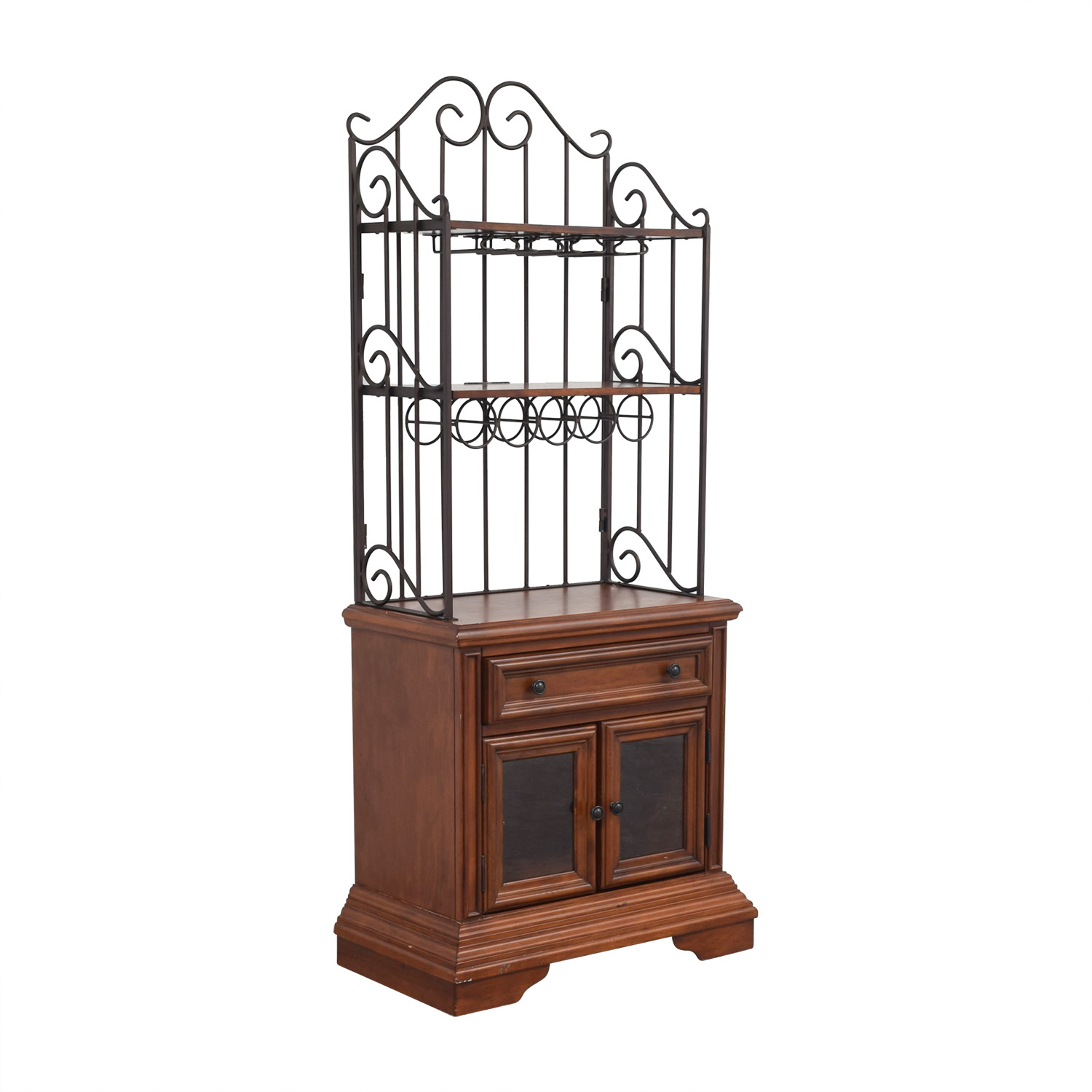 Wood and Metal Wine Cabinet sale