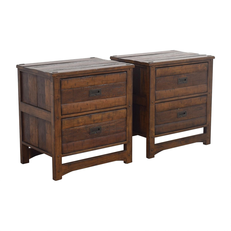 Arhaus Arhaus Rustic Wood Two-Drawer Side Tables dimensions