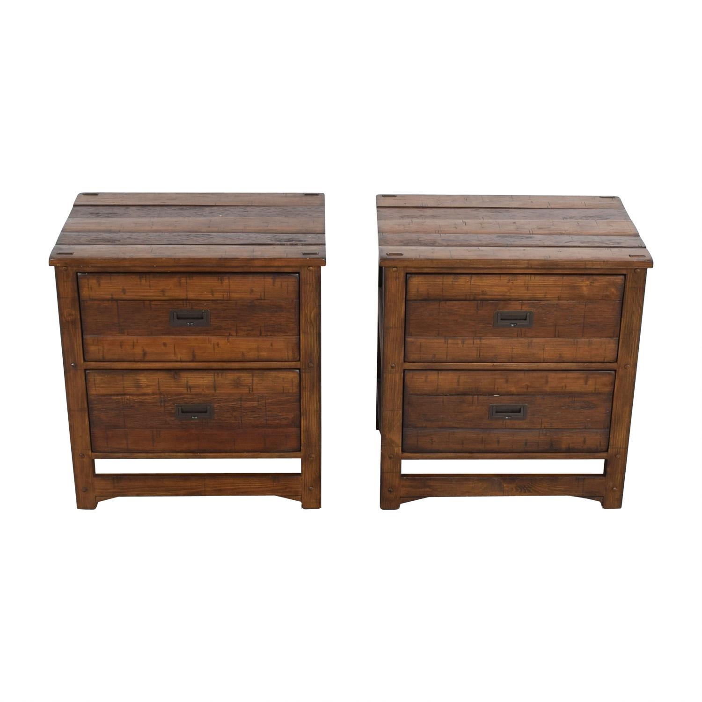 Arhaus Rustic Wood Two-Drawer Side Tables sale
