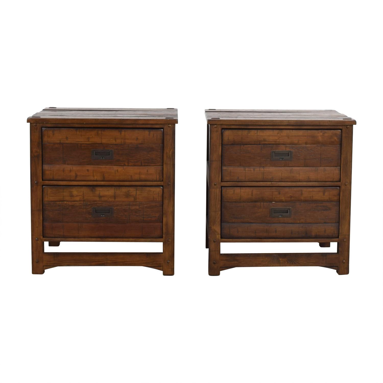 buy Arhaus Rustic Wood Two-Drawer Side Tables Arhaus Accent Tables
