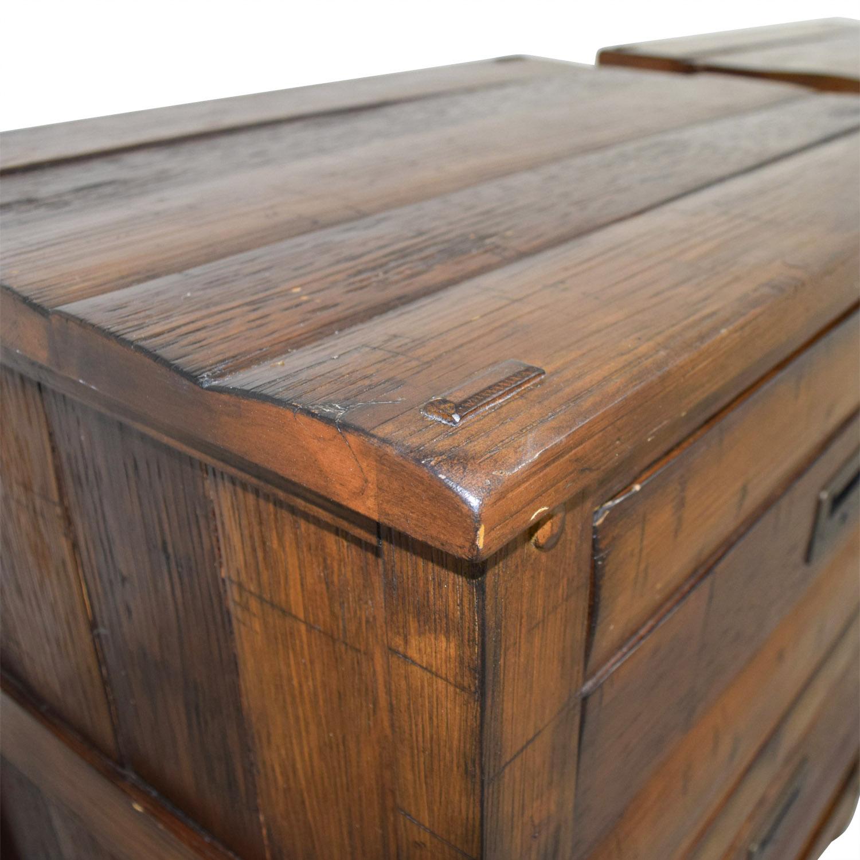 buy Arhaus Rustic Wood Two-Drawer Side Tables Arhaus