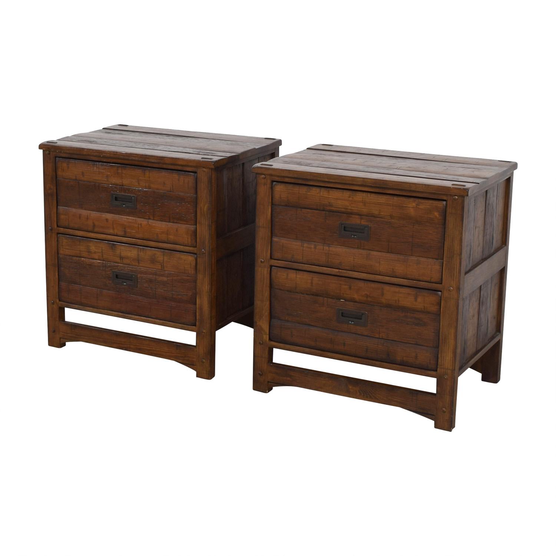 Arhaus Arhaus Rustic Wood Two-Drawer Side Tables Accent Tables