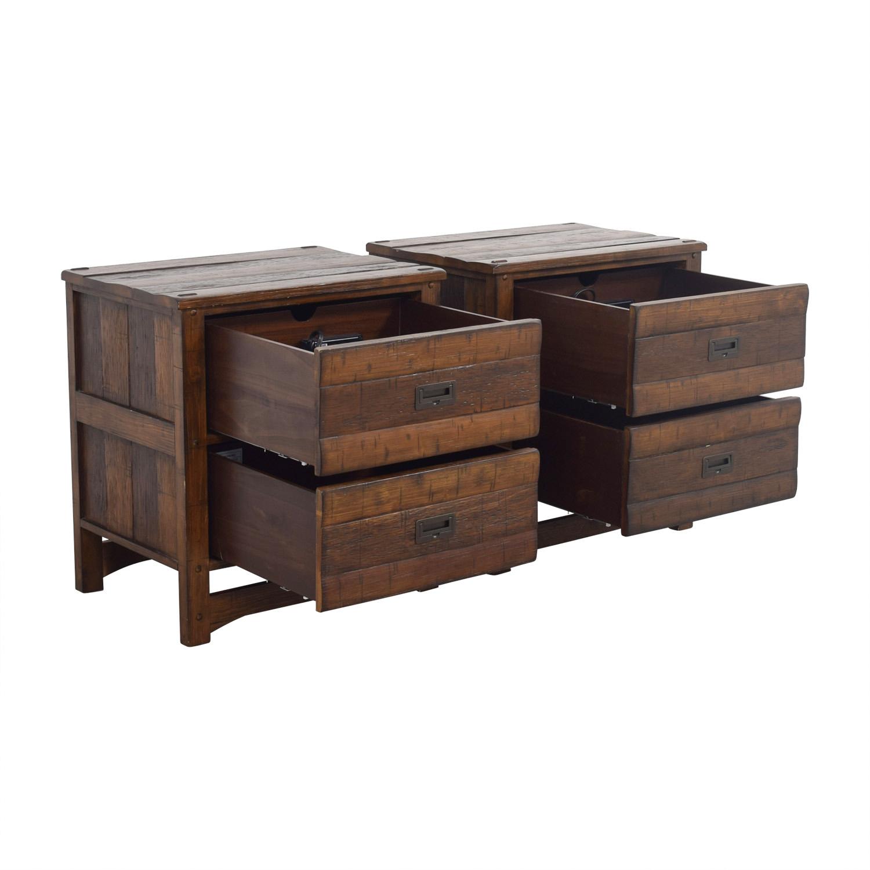 Arhaus Arhaus Rustic Wood Two-Drawer Side Tables Tables