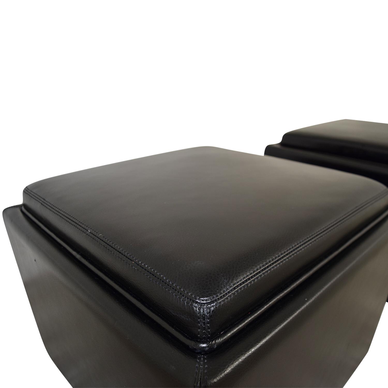 Crate & Barrel Crate & Barrel Black Tray Ottomons on sale