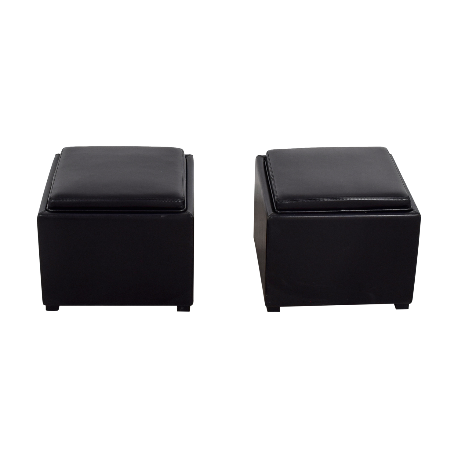 Crate & Barrel Crate & Barrel Black Tray Ottomons Ottomans