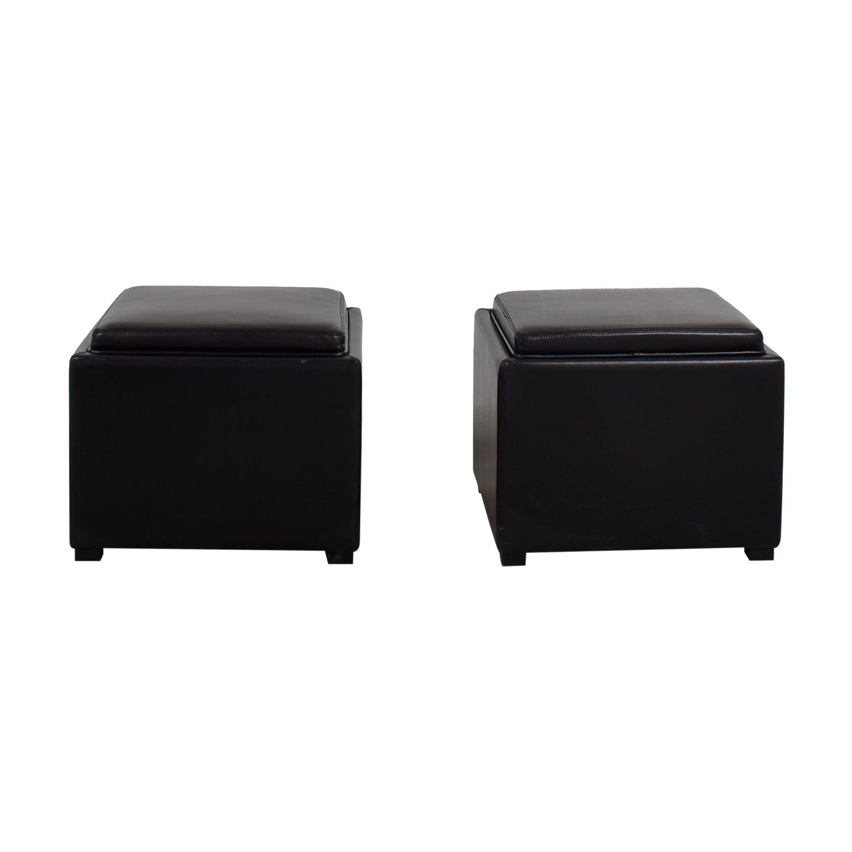 buy Crate & Barrel Black Tray Ottomons Crate & Barrel