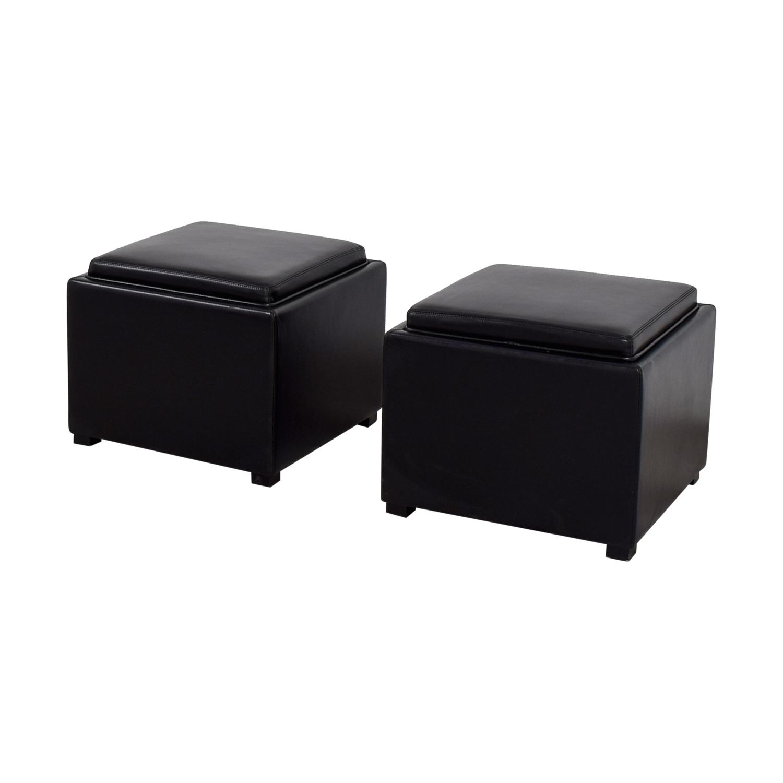 buy Crate & Barrel Crate & Barrel Black Tray Ottomons online