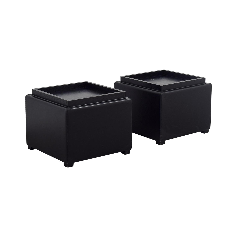 Crate & Barrel Black Tray Ottomons Crate & Barrel