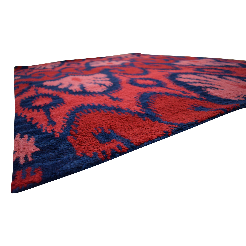 buy Ikat Wool Red and Navy Rug Rugs