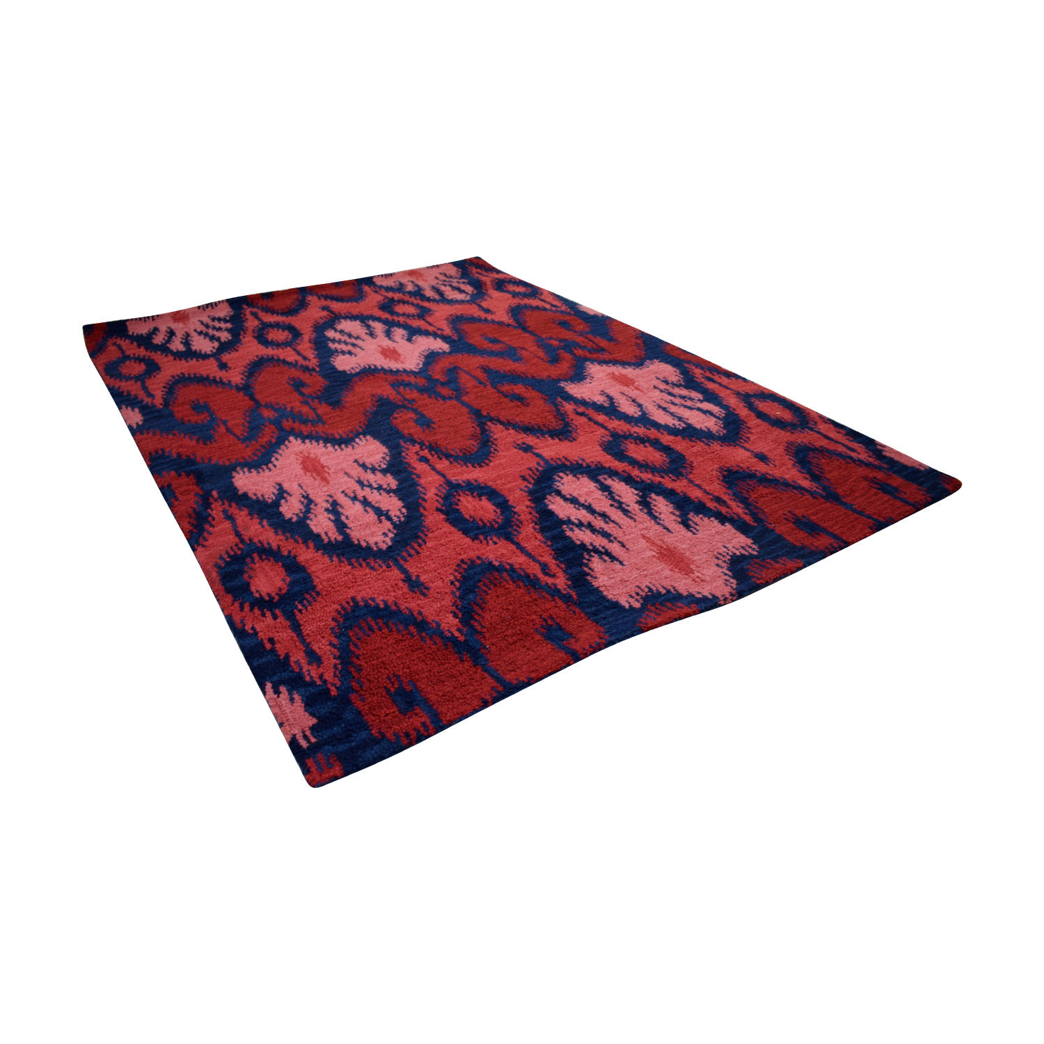 Ikat Wool Red and Navy Rug Decor