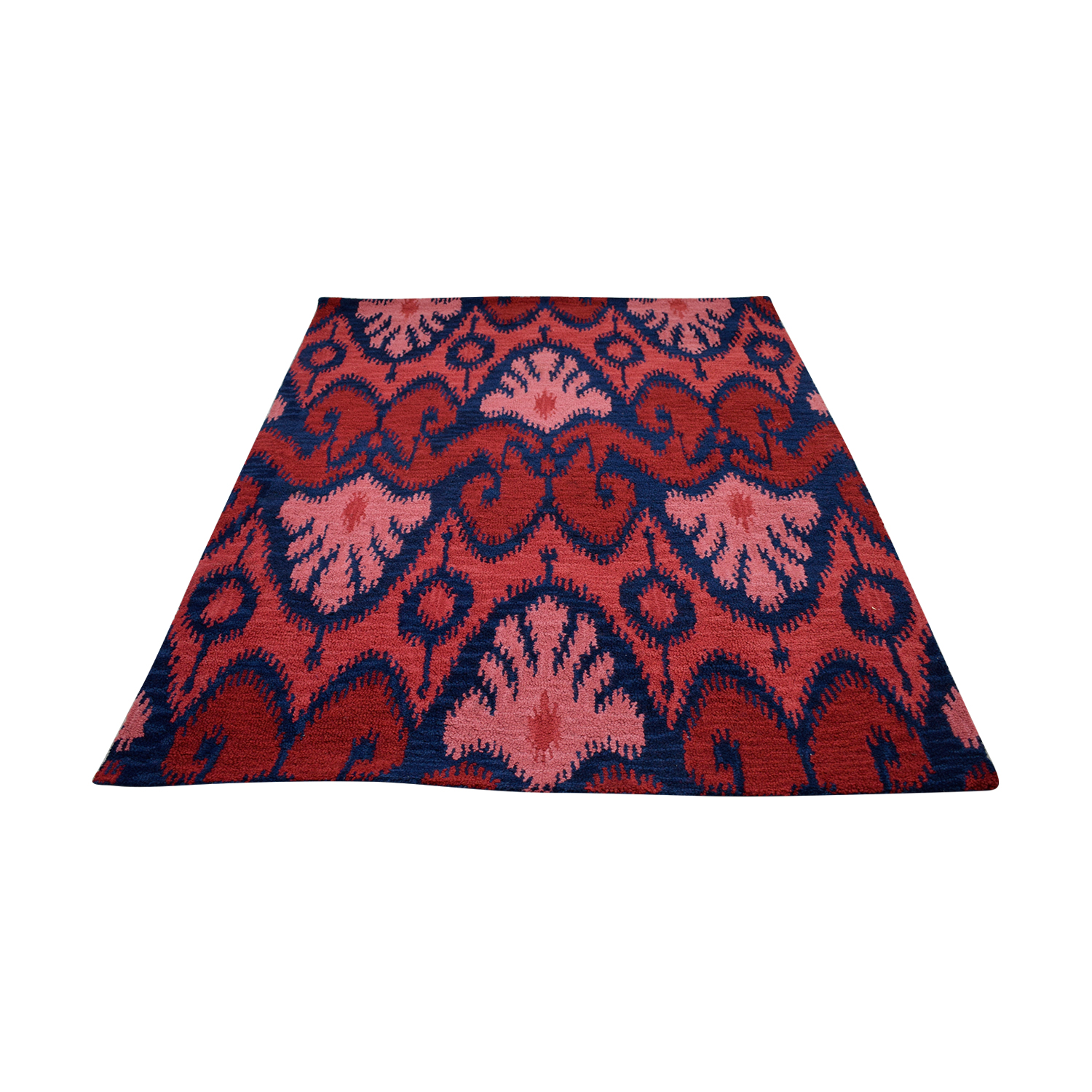 Ikat Wool Red and Navy Rug nj