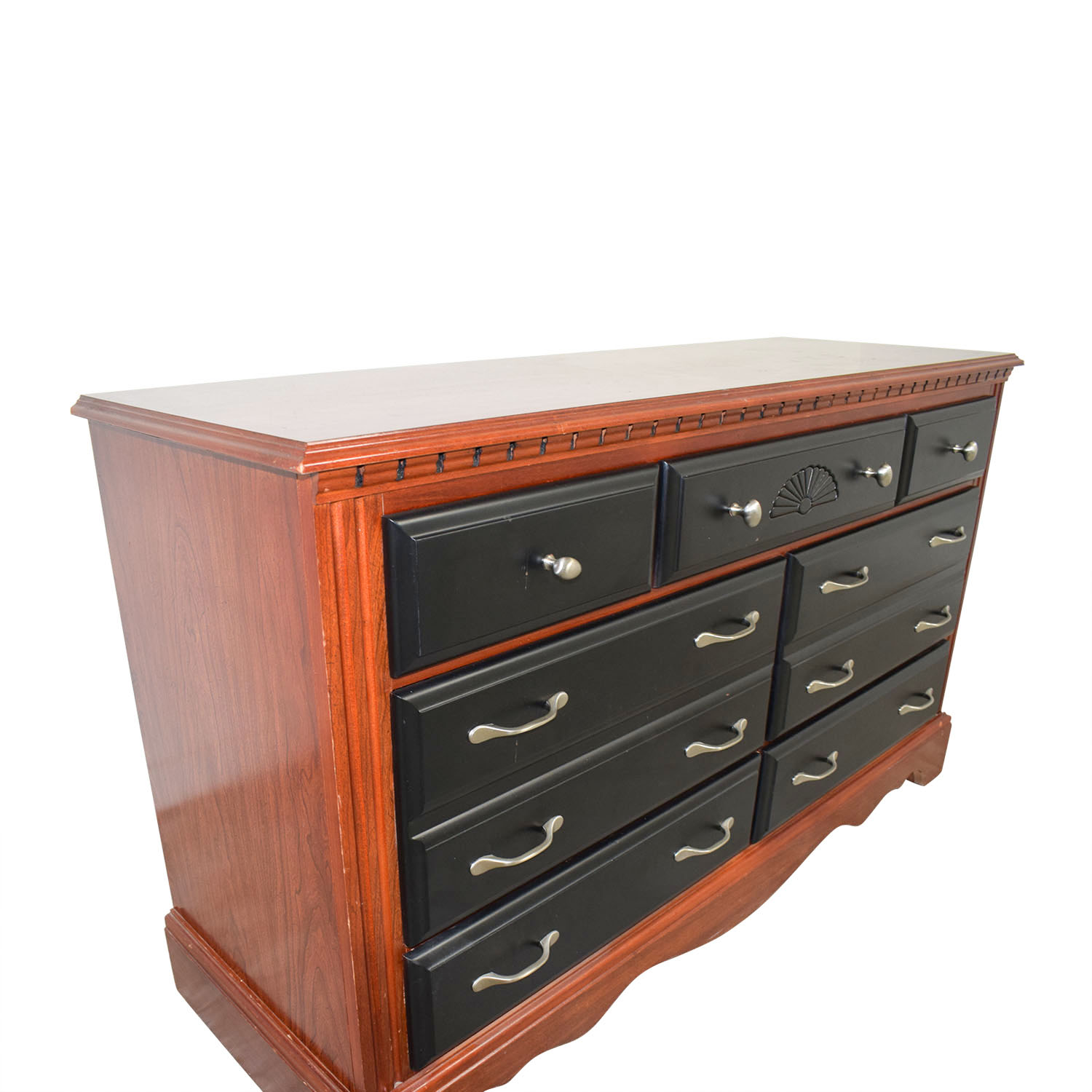 buy Two-Toned Black and Wood Seven-Drawer Dresser Storage