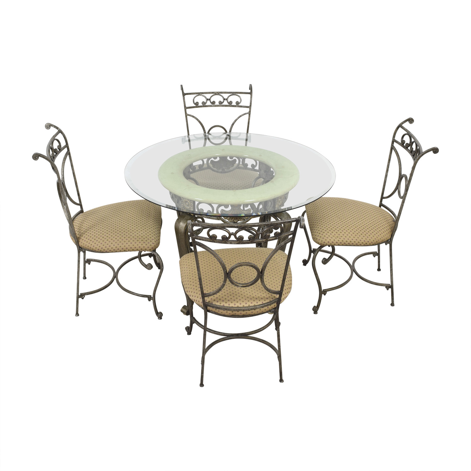 Glass Five-Piece Dining Set tan