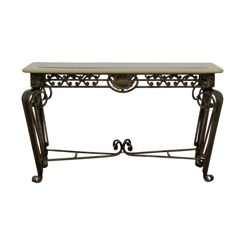 Vanilla Glass & Metallic Metal Side Table