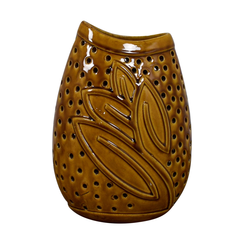 Decorative Golden Ceramic Vase / Decorative Accents