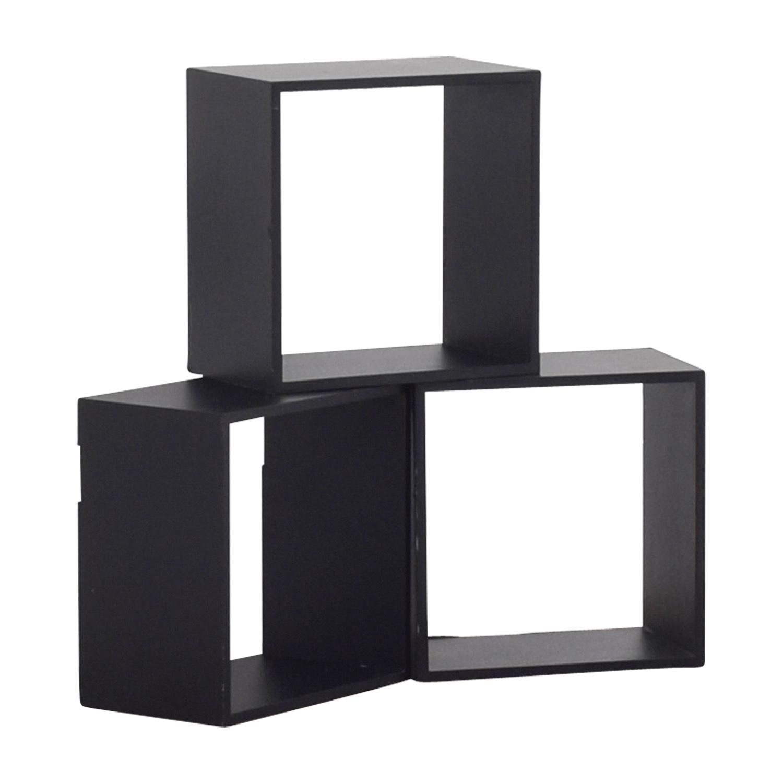 ... Black Decorative Wall Box Shelves BLACK ...