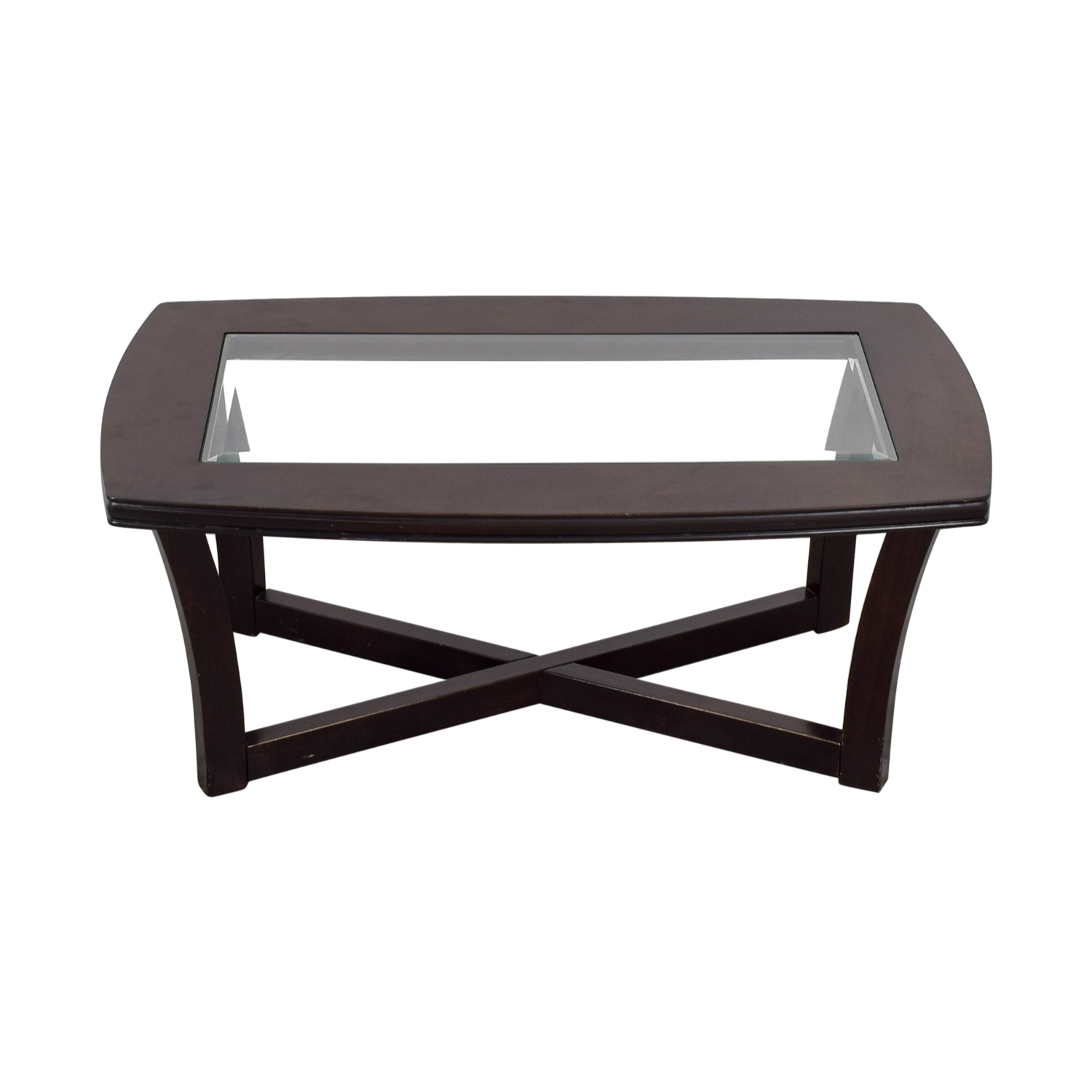 Ashley Furniture Tempered Glass and Cherry Stain Coffee Table / Tables
