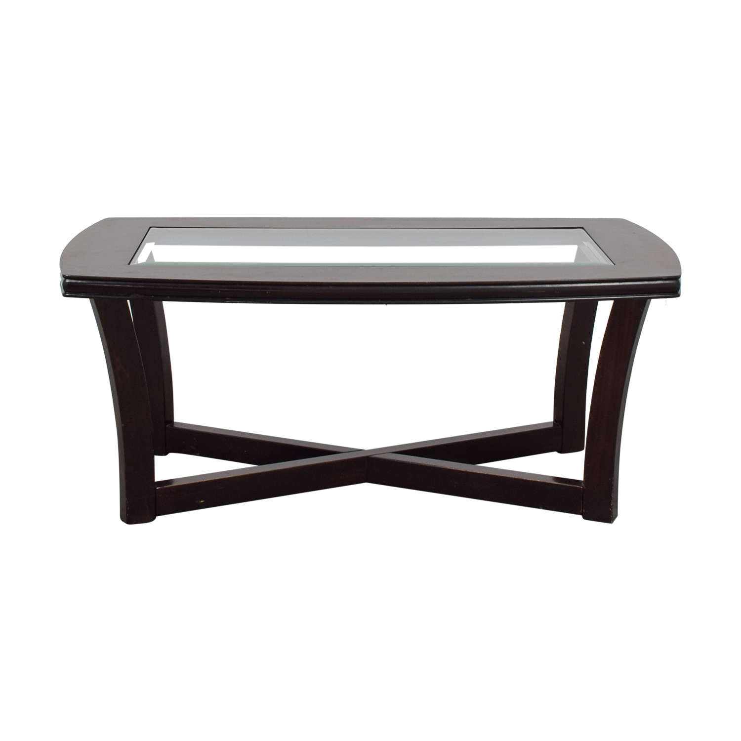 Ashley Furniture Ashley Furniture Tempered Glass and Cherry Stain Coffee Table dimensions