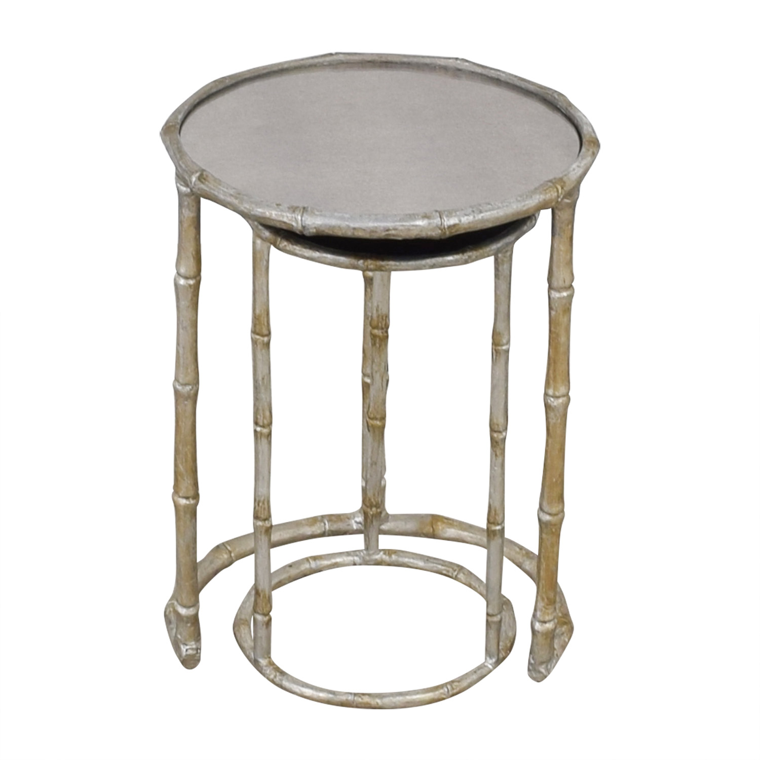 Millie Raes Millie Raes Bamboo Round Mirrored Nesting Tables second hand