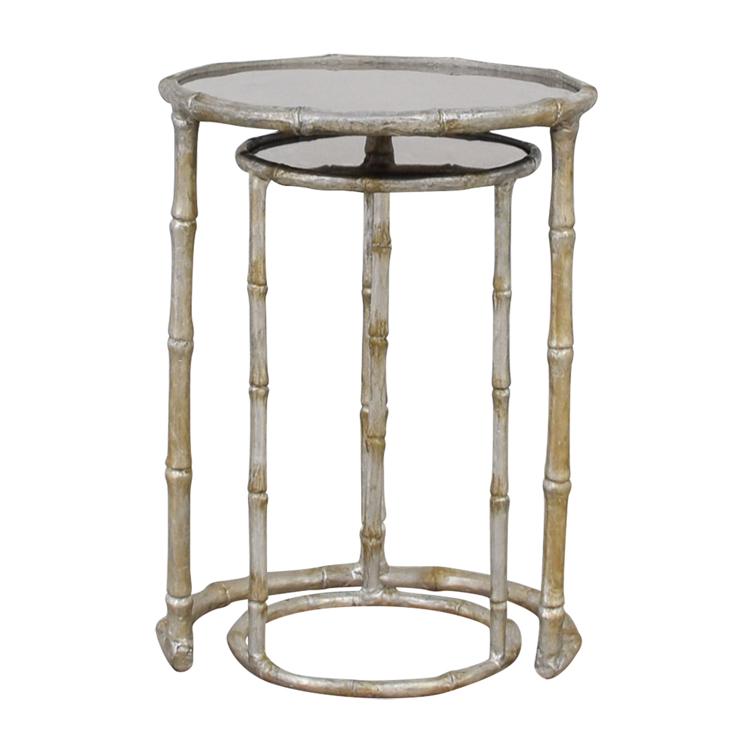 Millie Raes Millie Raes Bamboo Round Mirrored Nesting Tables Sofas