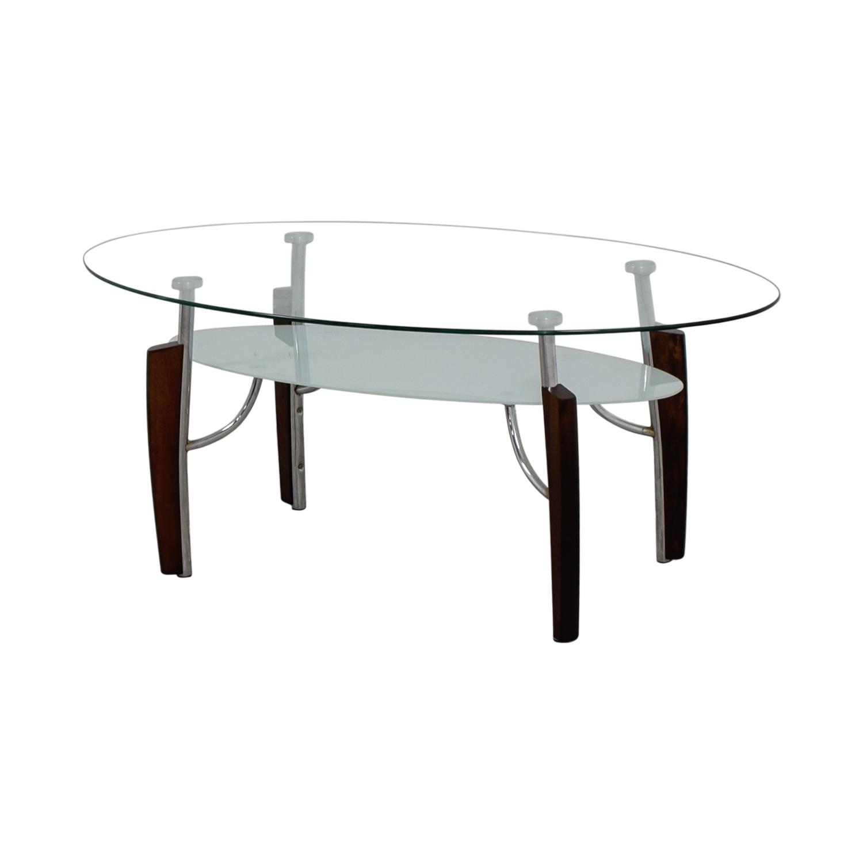 Jennifer Convertibles Oval Glass Coffee Table sale