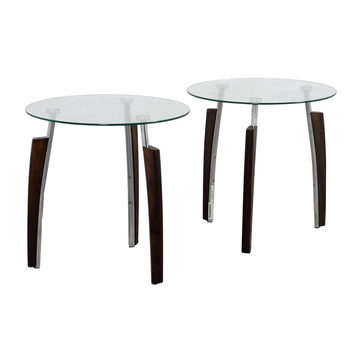 Jennifer Convertibles Round Tripod Side Tables Second Hand