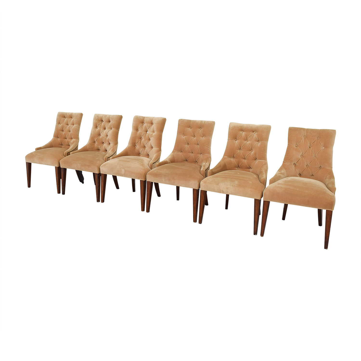 Tan Tufted Velvet Chairs / Dining Chairs